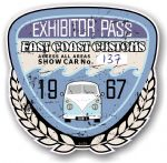 Aged Vintage 1967 Dated Car Show Exhibitor Pass Design Vinyl Car sticker decal  89x87mm